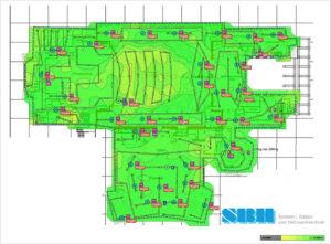 Die farbliche Markierung vermittelt die optimierte WLAN-Ausleuchtung (Grün entspr. >= -45 dBm. SBH-Industriesysteme Site Survey)