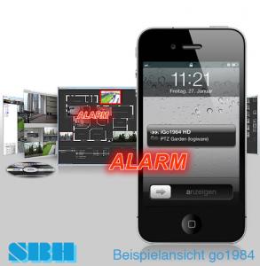 go1984 Alarm-Benachrichtigung auf Mobiltelefon